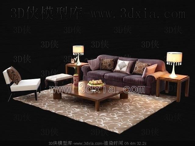 沙发组合3D模型-版本2009-374【ID:39149】