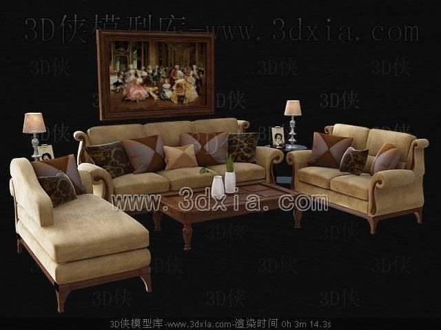 沙发组合3D模型-版本2009-403【ID:39173】