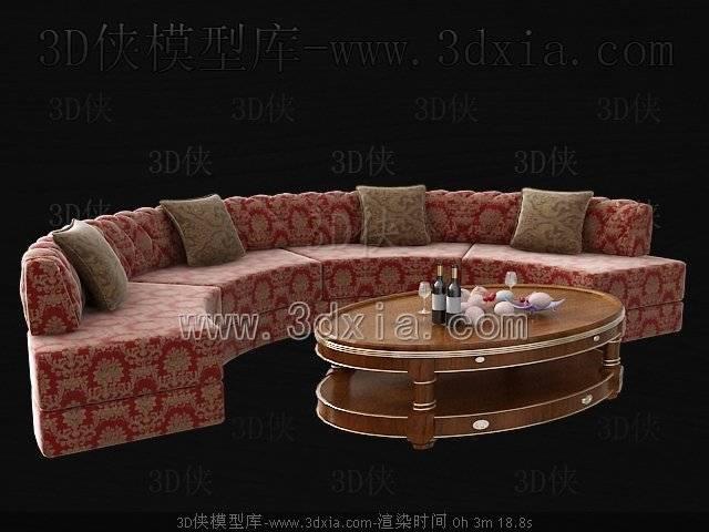 沙发组合-版本2009-4053D模型【ID:39174】