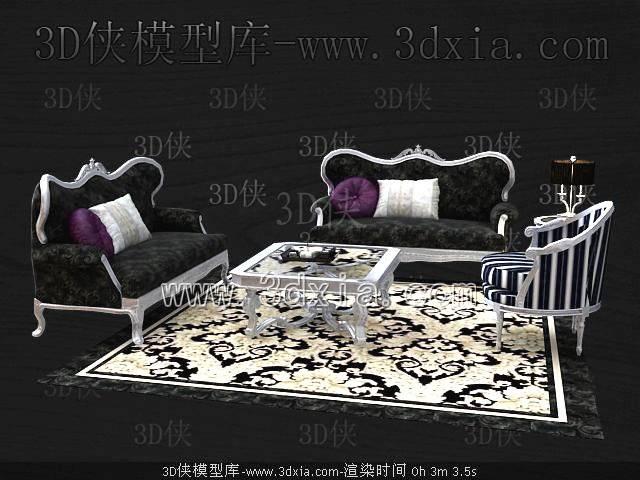 沙发组合3D模型-版本2009-419【ID:39186】