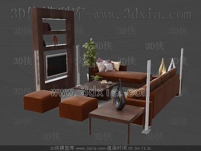 沙发组合3D模型-版本2009-451【ID:39215】