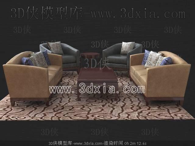 沙发组合3D模型-版本2009-453【ID:39217】