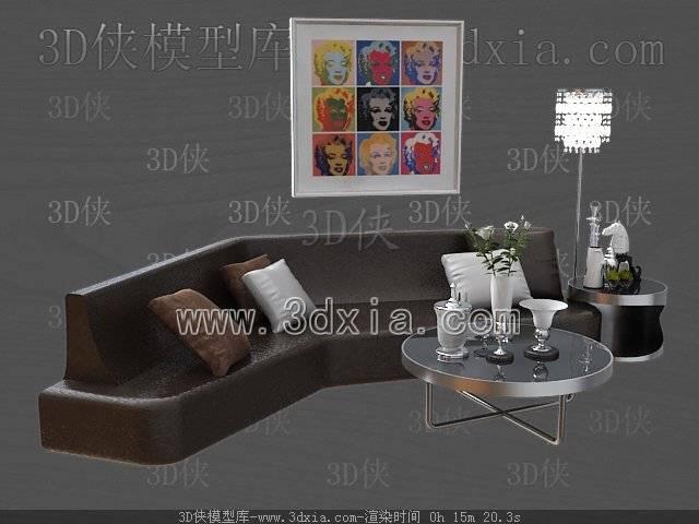 沙发组合3D模型-版本2009-457【ID:39221】