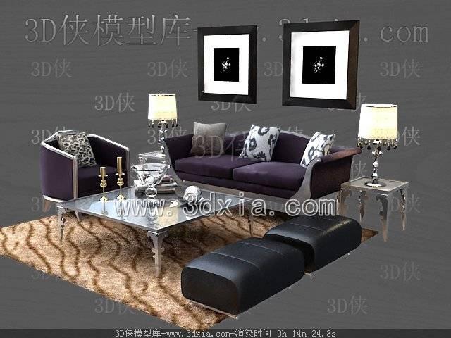 沙发组合3D模型-版本2009-465【ID:39229】