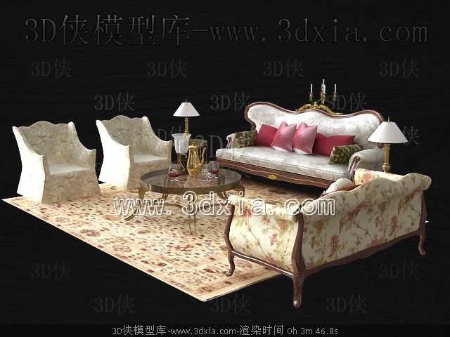 沙发组合3D模型-版本2009-469【ID:39232】