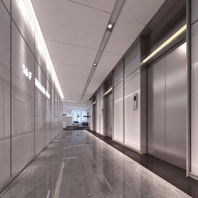 现代电梯厅3D模型【ID:427968948】