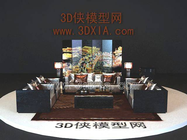 沙发组合3D模型-版本2009-a674【ID:39359】