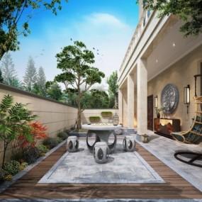 现代庭院花园3D模型【ID:928558924】