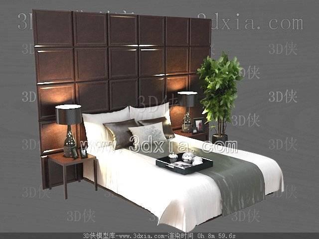 双人床3D模型-版本2009-53【ID:39765】