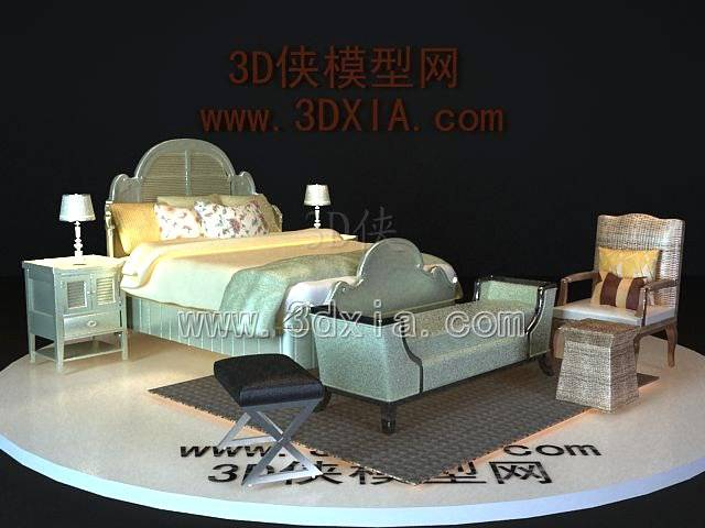 双人床3D模型-版本2009-a6190【ID:39834】