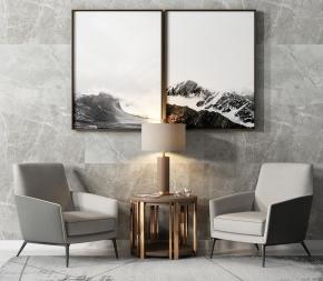 現代布藝休閑椅圓幾臺燈裝飾畫組合3D模型【ID:227779465】