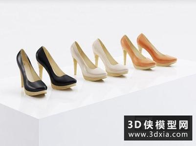 女式鞋子國外3D模型【ID:929823673】