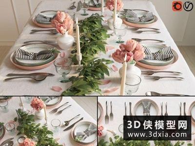 現代餐具組合國外3D模型【ID:929403902】