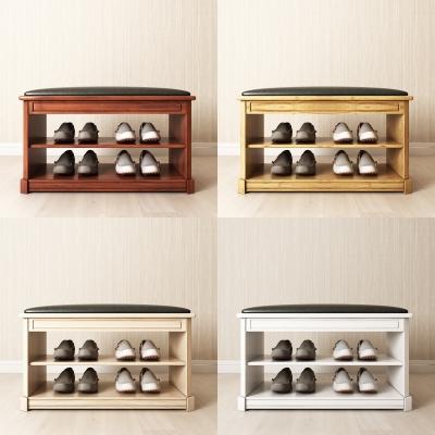 现代实木鞋柜鞋凳3D模型【ID:927838304】