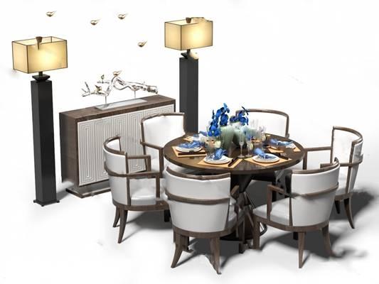 中式餐桌椅组合3D模型下载【ID:319451404】
