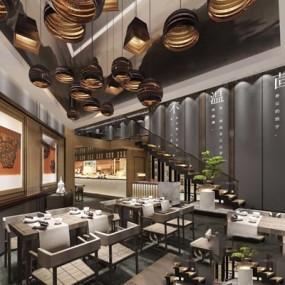 新中式餐厅3D模型【ID:528010573】
