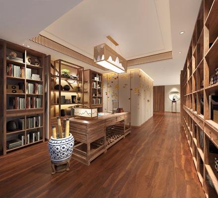 新中式書房3D模型【ID:528033604】
