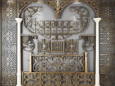 歐式古典鐵藝欄桿雕花雕刻3D模型【ID:820813578】