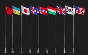 现代各国国旗3D模型【ID:227778785】