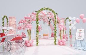 现代气球拱门花拱门组合3D模型【ID:227778783】