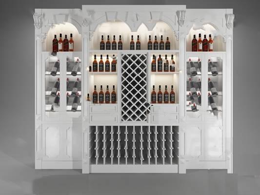 欧式酒柜3D模型下载【ID:919429090】
