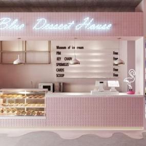 北欧粉粉甜品店3D模型【ID:728029439】