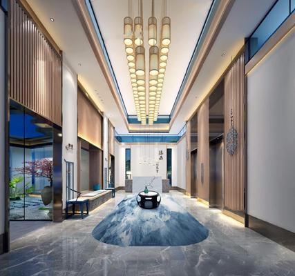 新中式展厅3D模型【ID:528040473】
