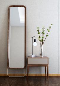 新中式實木穿衣鏡梳妝鏡床頭柜臺燈3D模型【ID:927825797】