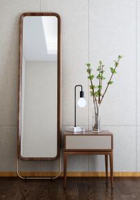 新中式实木穿衣镜梳妆镜床头柜台灯3D模型【ID:927825797】