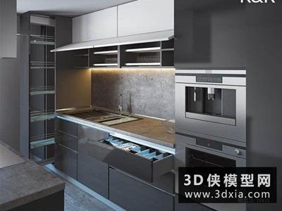 现代厨柜国外3D模型【ID:829583078】