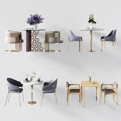 现代桌椅组合3D模型【ID:320617597】