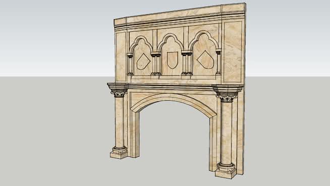 哥特式雕花壁爐SU模型【ID:939643533】