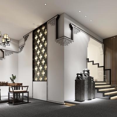 新中式茶叶店前厅3D模型【ID:428443191】