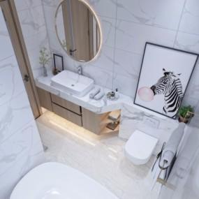 现代浴室卫生间3D模型【ID:127762643】