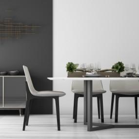 现代餐桌椅边柜组合3D模型【ID:327791456】