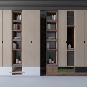 现代实木衣柜储物柜摆件3D模型【ID:927836947】