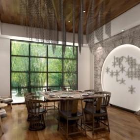 新中式餐厅包房3D模型【ID:728079809】