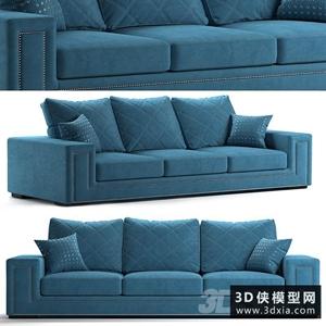现代绒布沙发国外3d模型【ID:729308638】