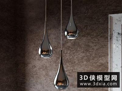 現代水滴吊燈国外3D模型【ID:829640770】