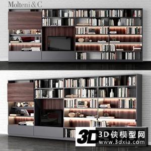 现代电视柜组合国外3D模型【ID:829445024】