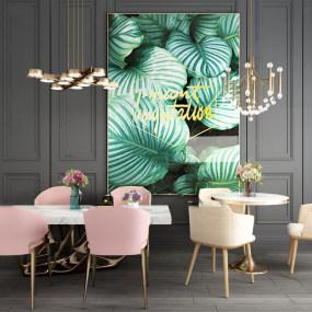 北欧圆形长形餐桌椅组合3d模型【ID:843427858】