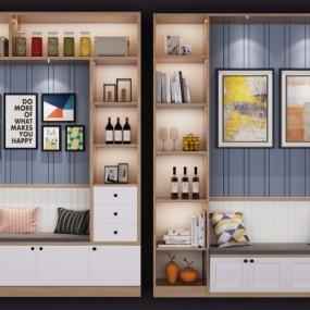 现代实木装饰柜卡座摆件组合3D模型【ID:927834224】