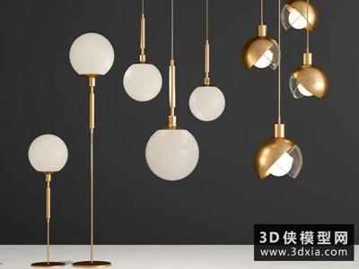 现代吊灯国外3D模型【ID:829345713】