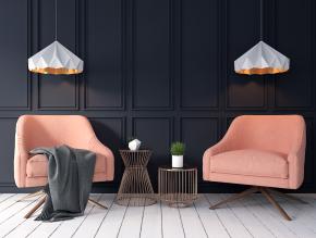 现代布艺单人沙发圆几吊灯组合3D模型【ID:927826628】