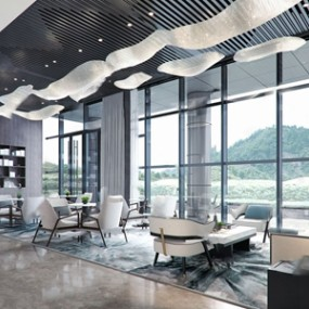 新中式售楼处休闲区3D模型【ID:420800504】