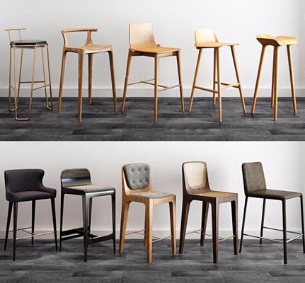 现代吧椅组合3D模型【ID:327902140】