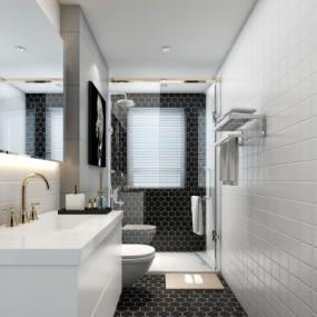 现代卫生间浴室3d模型【ID:128415630】