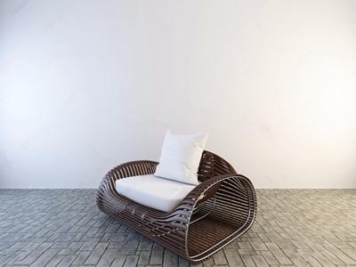 新中式竹编沙发3D模型【ID:732387578】