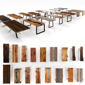 现代原木桌子 3D模型【ID:841549820】
