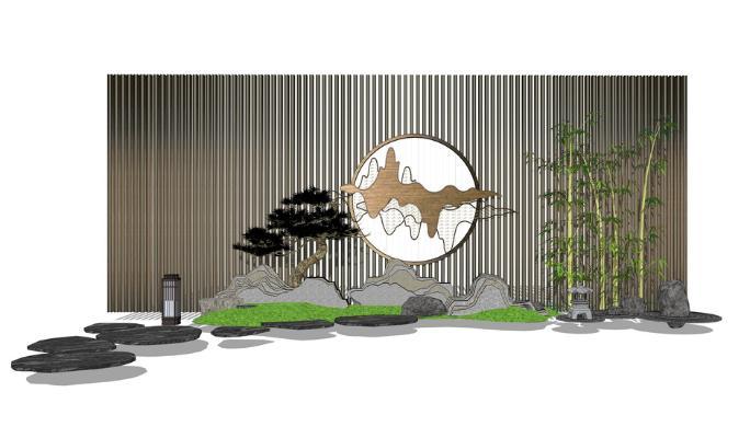 中式庭院小品SU模型【ID:648079615】